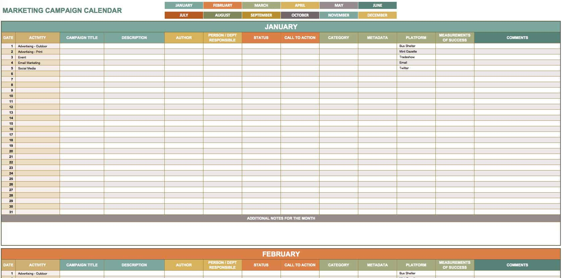 Editorial Calendar Template Editorial Calendar Template