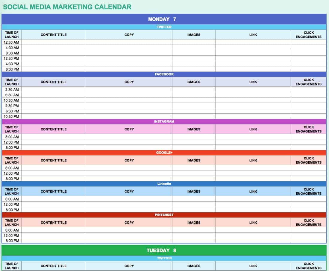 15 Free Marketing Calendar Templates