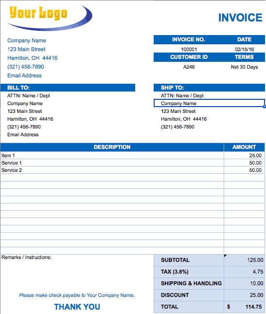 software development invoice template