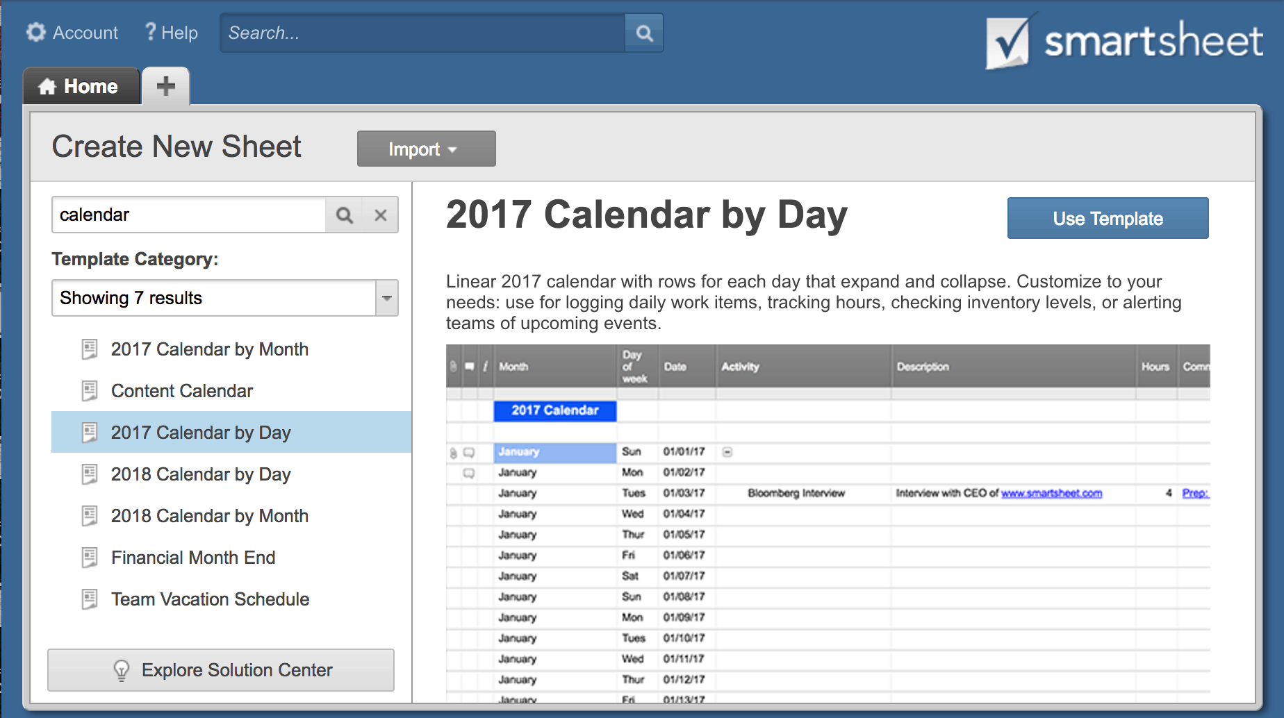 Calendar Templates Available In Smartsheet