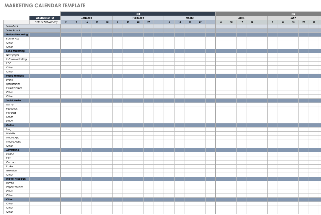 Keep yourself organized and stylish for free with these calendar templates for word. 15 Free Marketing Calendar Templates Smartsheet
