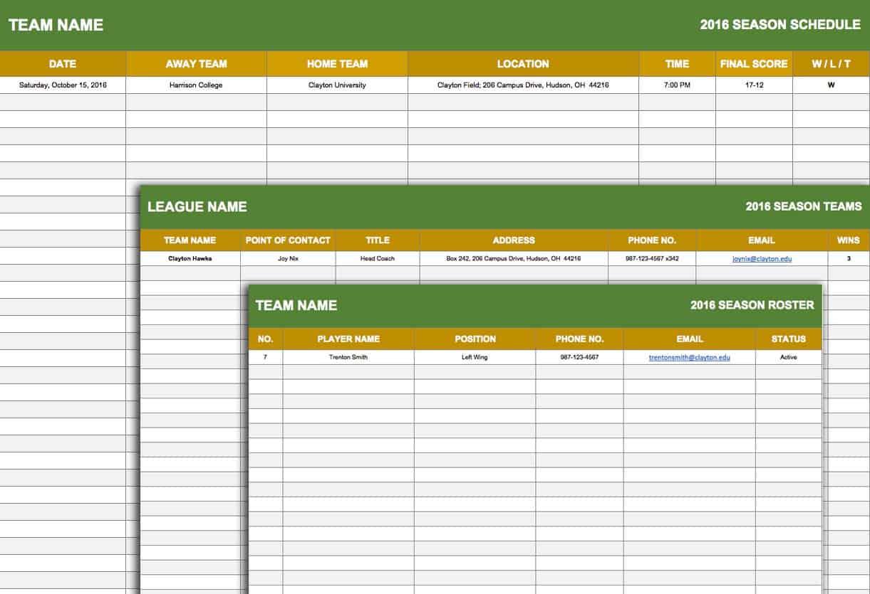 Sport Schedule Template