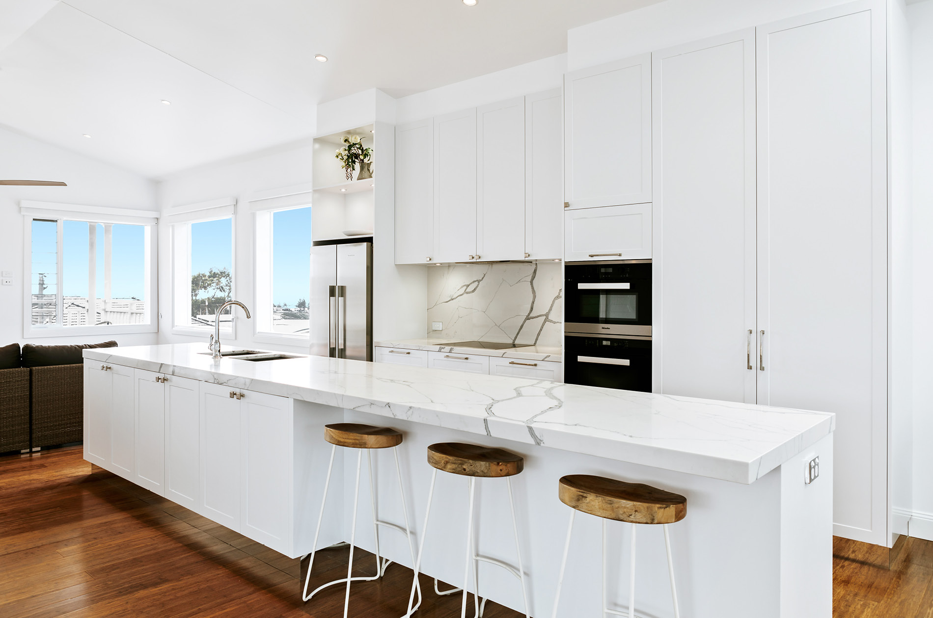 white kitchen bench lowes pendant lights beautiful with statuario venato exudes sophistication in french provincial design perfectly blends