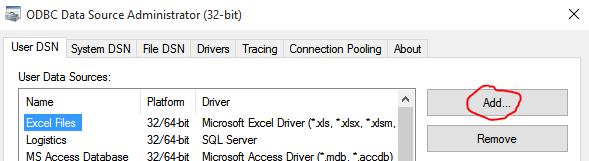 Add User DNS ODBC