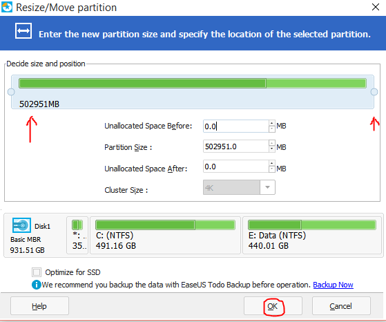 how to increase C partition space