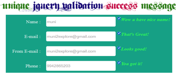 Unique jQuery Validation Success Message Using jQuery Validation Plugin