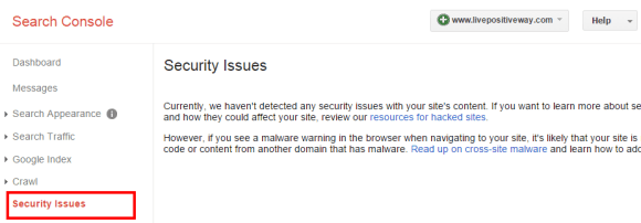 Search console security issues