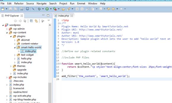 Simple HelloWorld WordPress Plugin Folder Structure