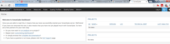 Sonnarqube Dashboard Page