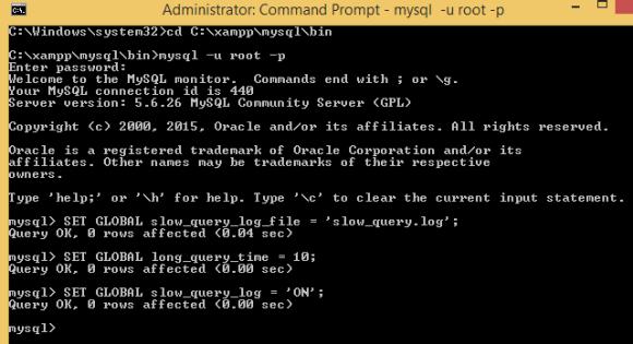 Enable Slow Queries Log In MySQL via Command Line