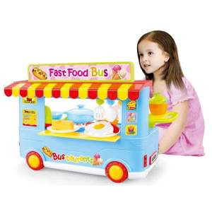 Fast Food Bus Kitchen Play Set Toy 29pcs Blue - Toys Playset
