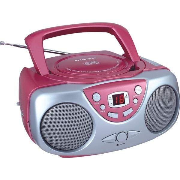 Portable CD Boom Box with AM-FM Radio (Pink) - Personal Electronics