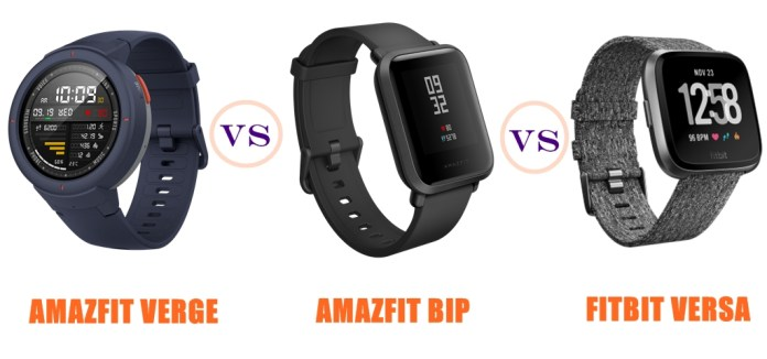Amazfit Verge Vs Bip Vs Fitbit Versa Which Is The Best