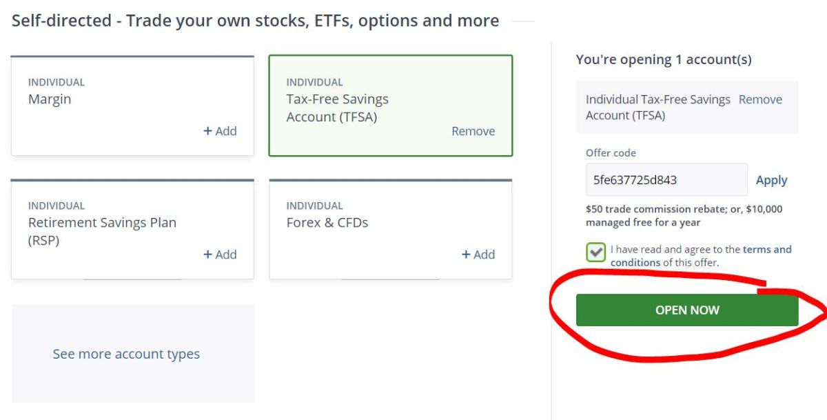 open a self-directed tfsa - click open now