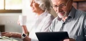 retiree reading tablet