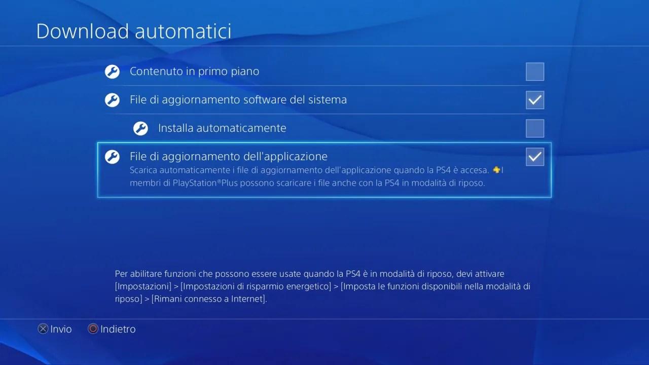 PS4 Download Automatici  Da remoto  Modalit Riposo