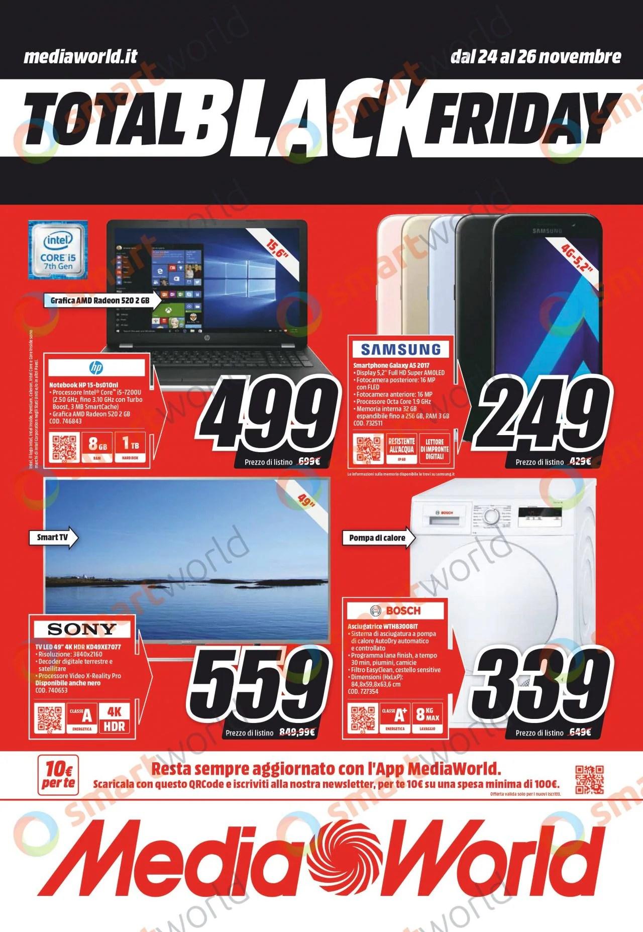Volantino MediaWorld Total Black Friday 20 pagine di articoli in offerta tra console