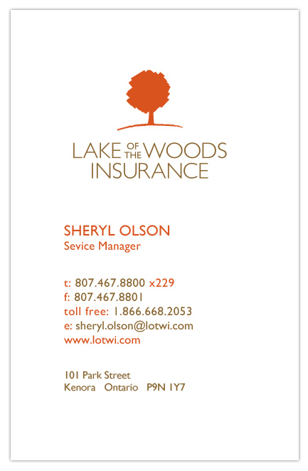 Lake of the Woods Insurance Business Cards - Front