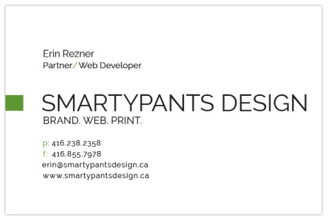 SmartyPants Design Business Cards - Back