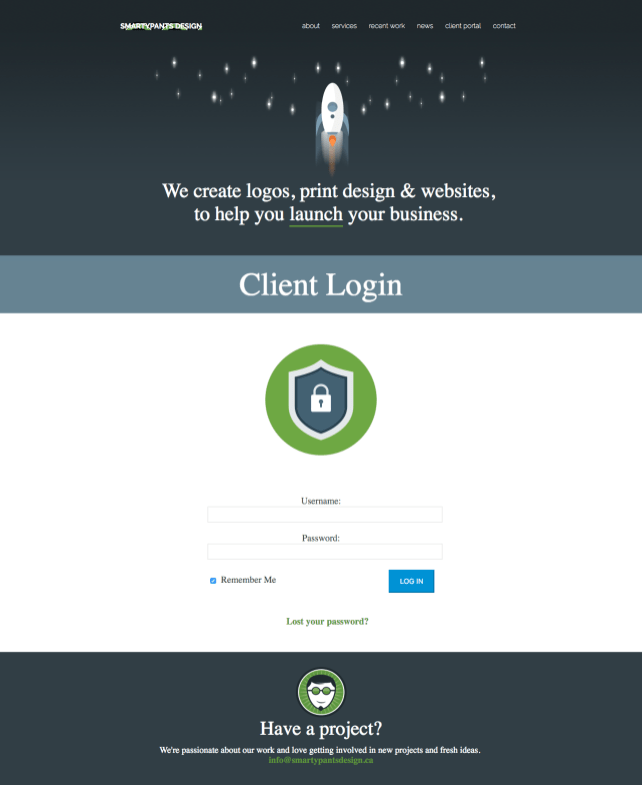SmartyPants Design Wordpress Theme - Login