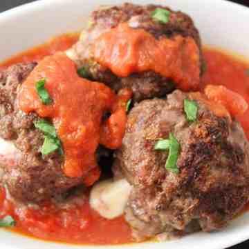 Mozzarella stuffed meatballs