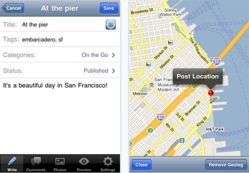 wordpress-for-ipad-location