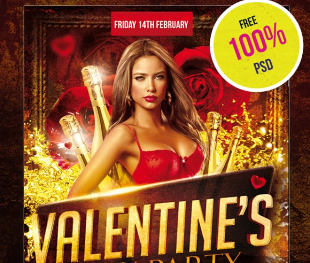 Free Flyer Psd Template Valentines Sexy Party