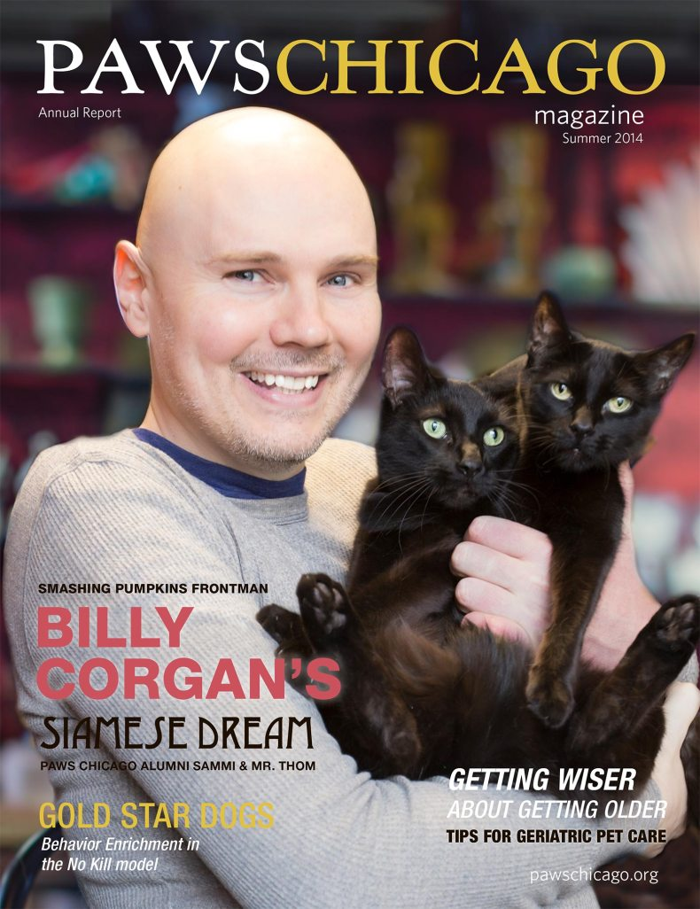 Billy Corgan poses for PAWS Chicago magazine cover