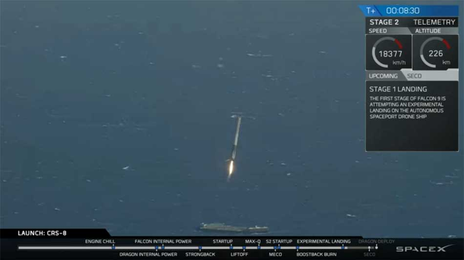 Falcon 9 landing at sea