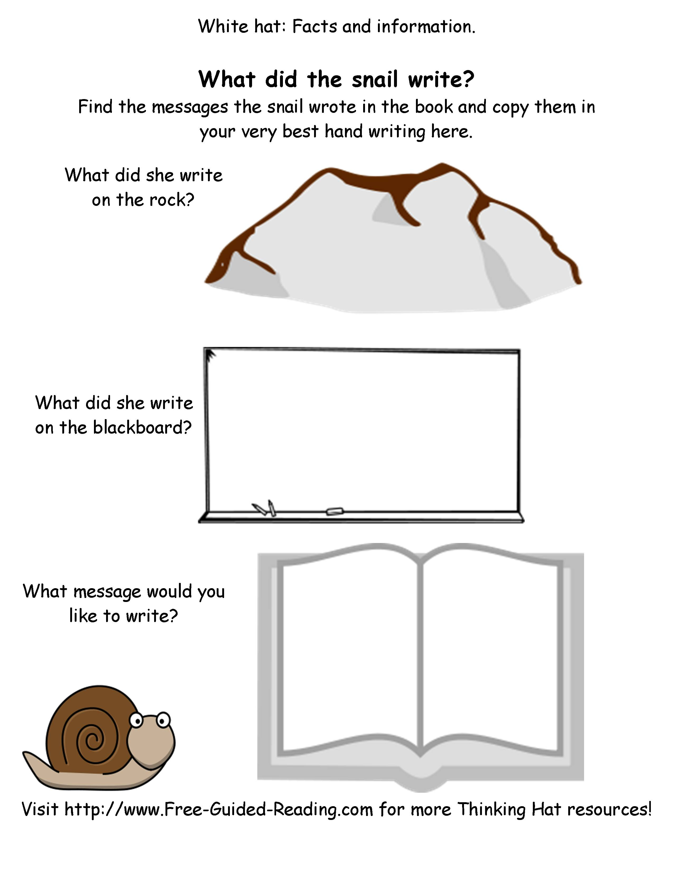 Smashwords 16 Thinking Hat Worksheets For The Snail And