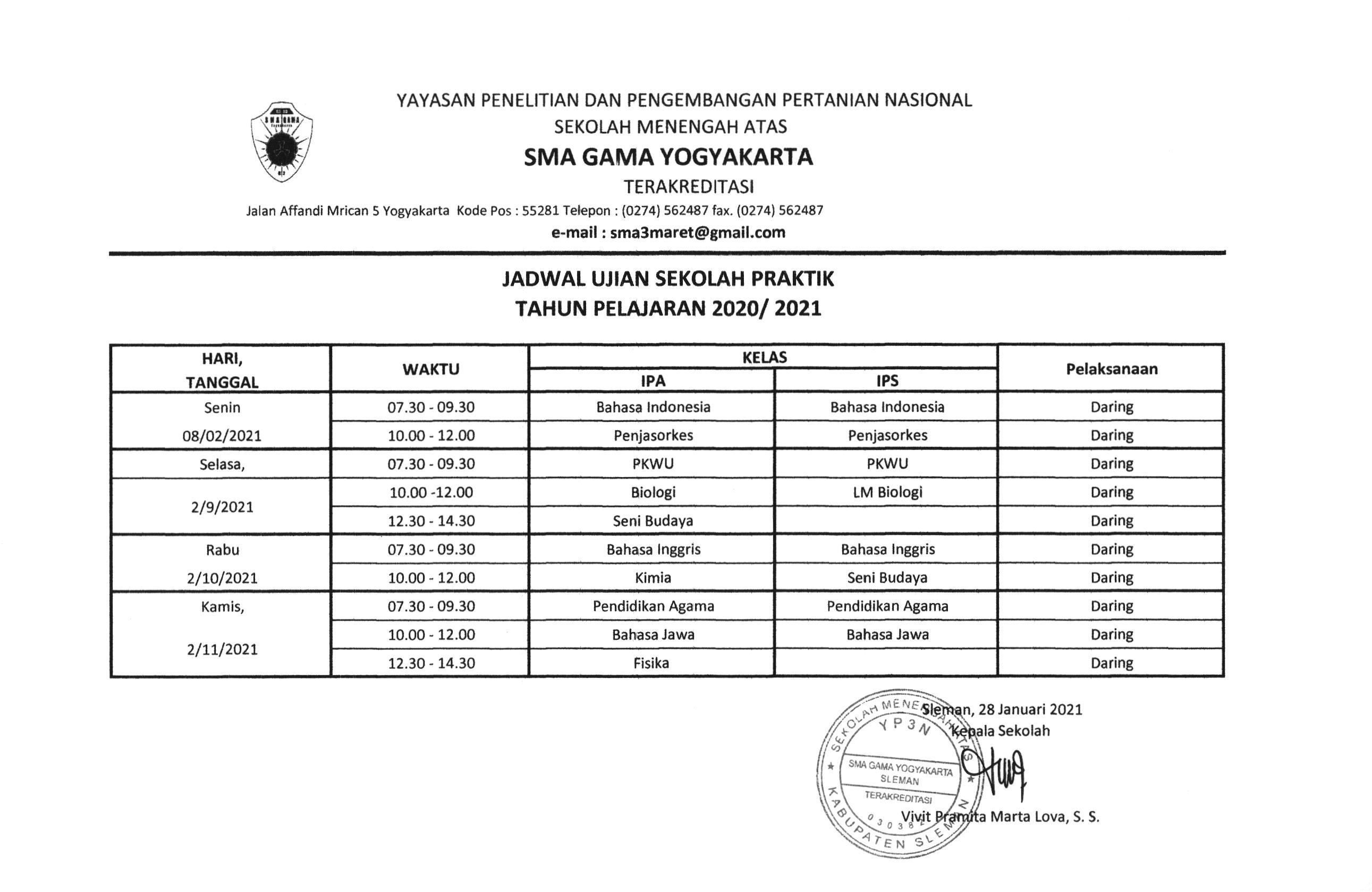 Jadwal Ujian Praktek Kelas XII tahun pelajaran 2020/2021