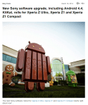 Sony Mobileが公式ブログでXperia Z1、Xperia Z1 Compact、Xperia Z UltraにAndroid 4.4.2(KitKat)アップデーターを提供開始