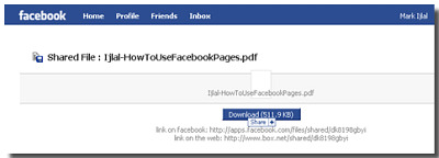 Box Net app in facebook
