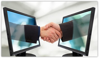 shaking hands in cyberspace