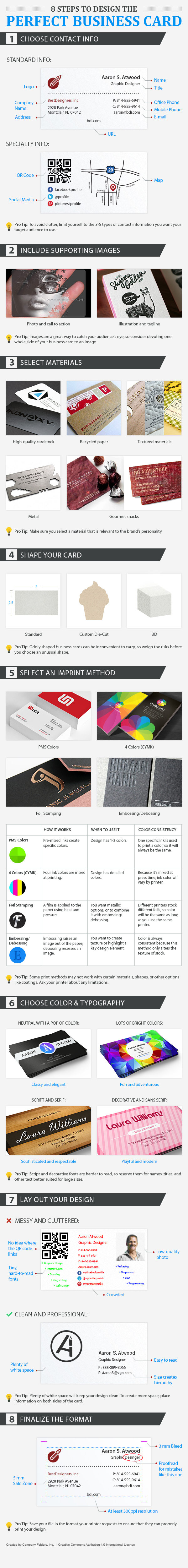 business card design tips infographic