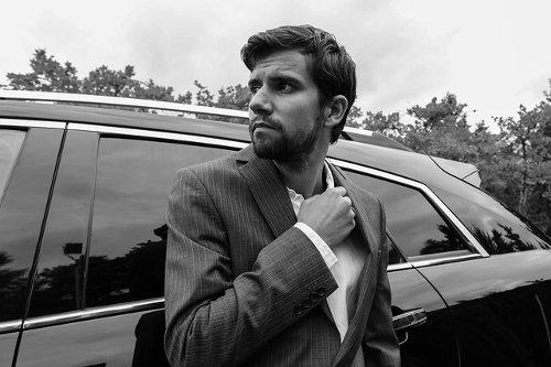 Business car and stylish businessman