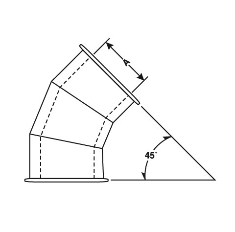 Double Wall 45˚ Degree Angle with E-Z Flange and Barrel