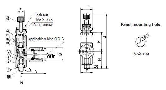 SMC ARJ1020F-M5-04-1 regulator, mini, ARJ MINATURE REGULATOR
