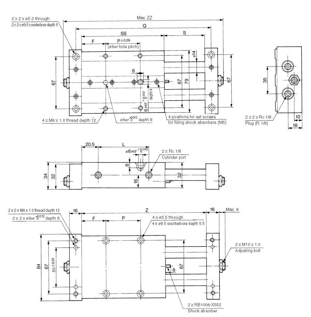 SMC CXWM25-150 cyl, slide bearing, CXW GUIDED CYLINDER