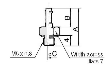 SMC M-5AU-4 fitting, barb, M MINI FITTING (sold in