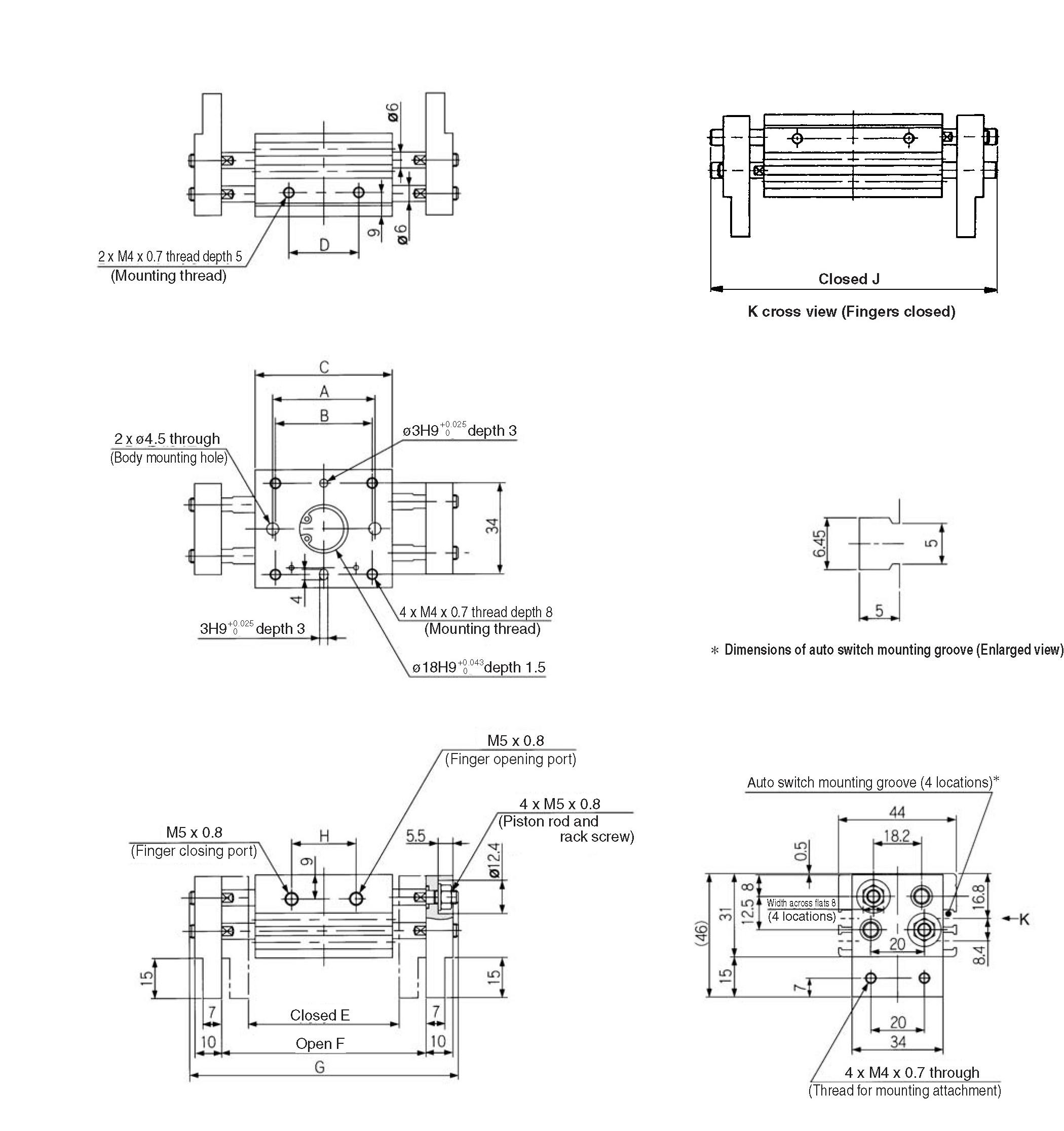 SMC MHL2-32D1 gripper, parallel, MHL GRIPPERS