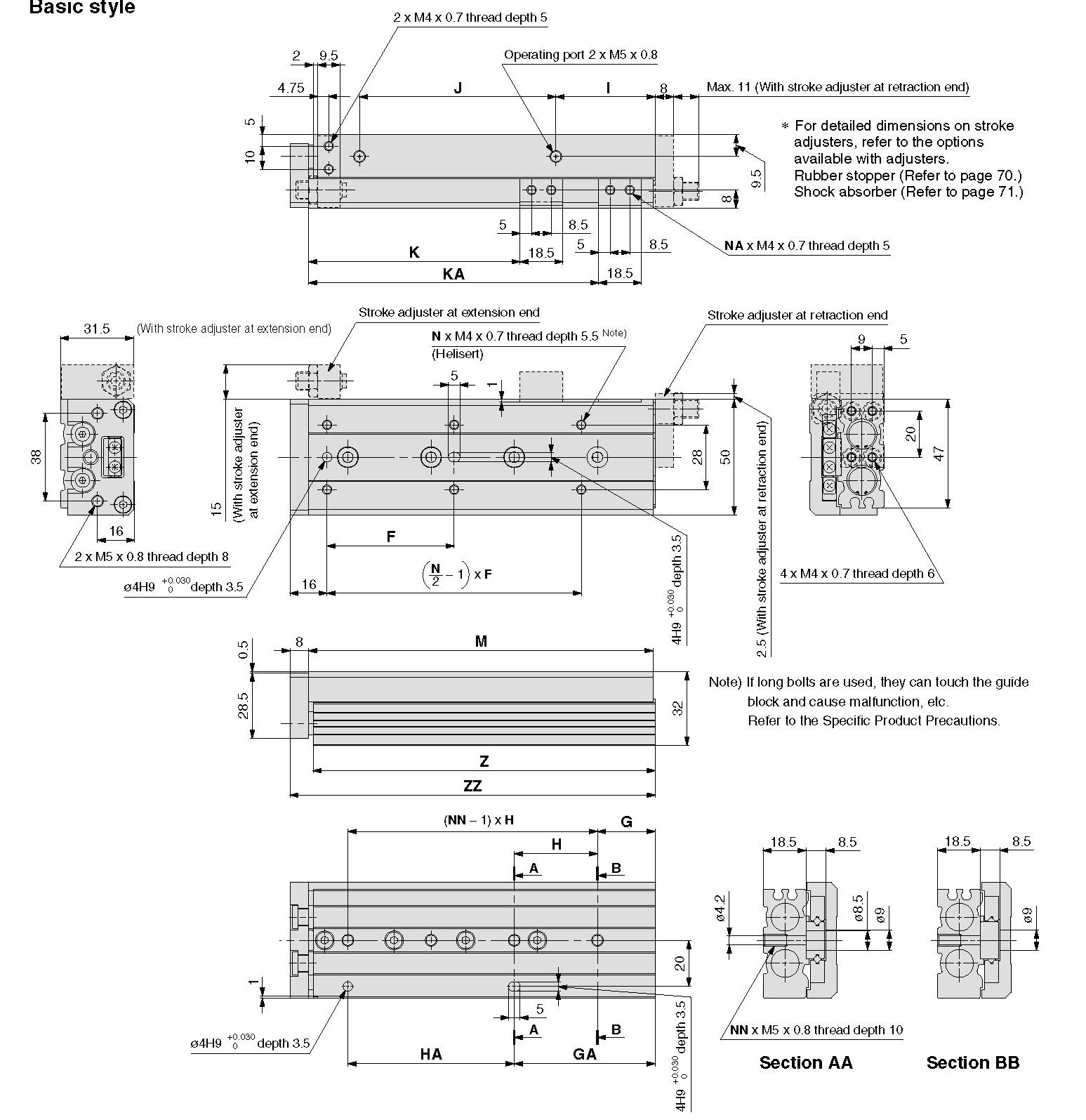 SMC MXS12-100B-M9BL cyl, slide table, shock absorb, MXS