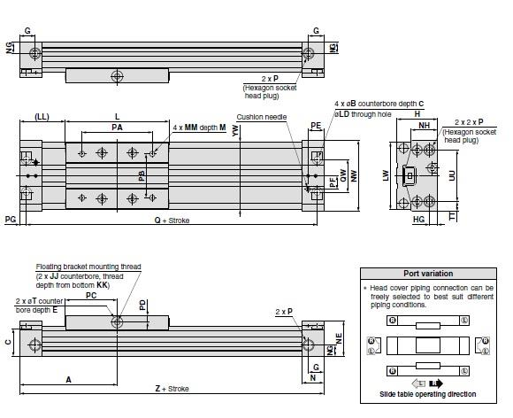 SMC MY3B20-300L-M9NL cyl, rodless, mech jt, MY3A/B RODLESS