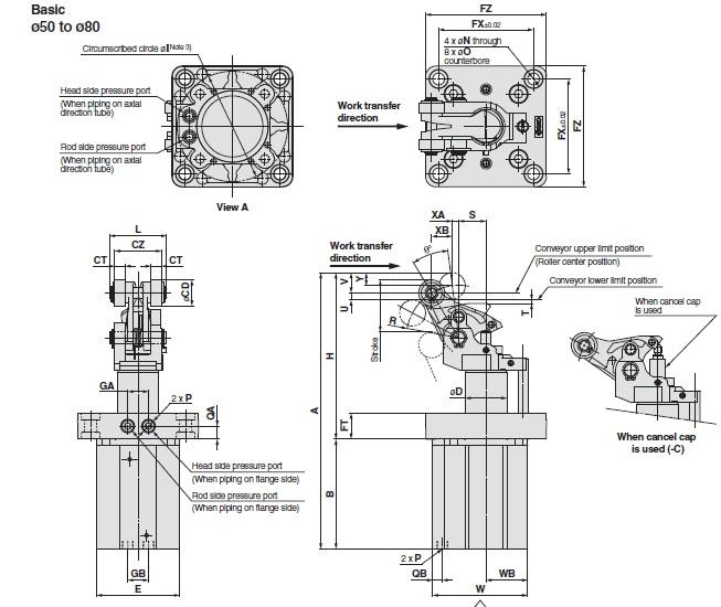 SMC RS2H50-30DM-D cyl, stopper, RSH STOPPER CYLINDER