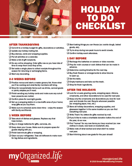 Image result for holiday organizing checklists