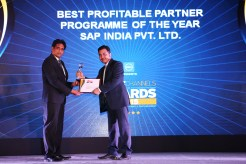 MR. SANJIB MOHAPATA GIVING AWAY OF THE AWARD OF BEST PROFITABLE PARTNER PROGRAMME TO SAP INDIA