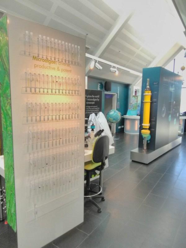 Exposition de cultures de phytoplancton et d'équipements de recherche dans leur centre d'exploration de l'océan ouvert au public, SAMS, Scottish Association for Marine Science à Oban, Ecosse (@SMEL)