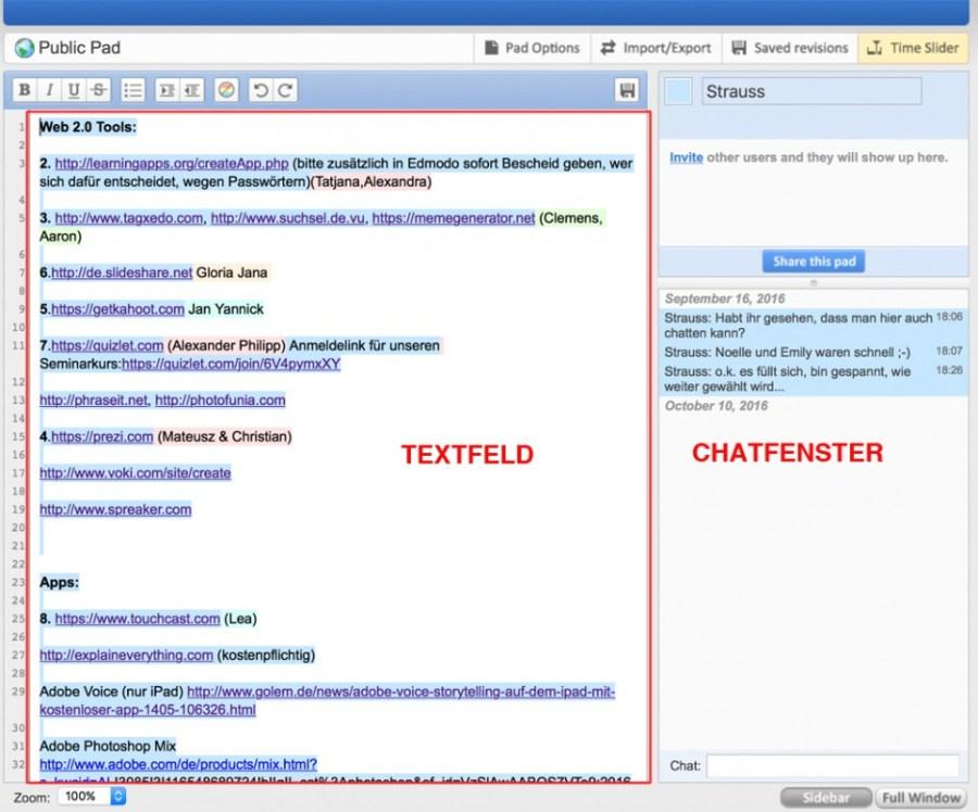 """Der Text kann direkt eingegeben werden und z.B. als PDF oder Worddatei exportiert werden. Mit """"Saved revisions"""" ist es möglich, Zwischenstände zu speichern. Mit """"Time Slider"""""""