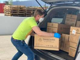 delivery van being loaded