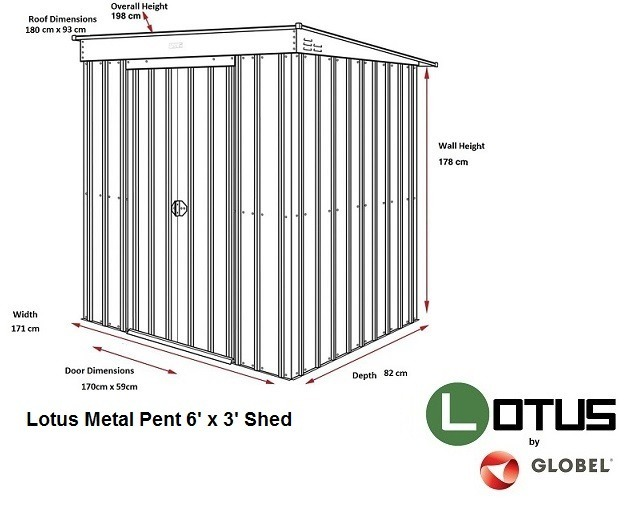 Lotus 6' x 3'  Pent Metal Shed - Heritage Green Solid (RESALE)